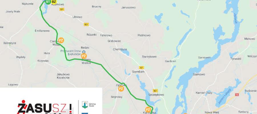 Trasa biegu Zasuwaj 2019 (Susz — Iława)