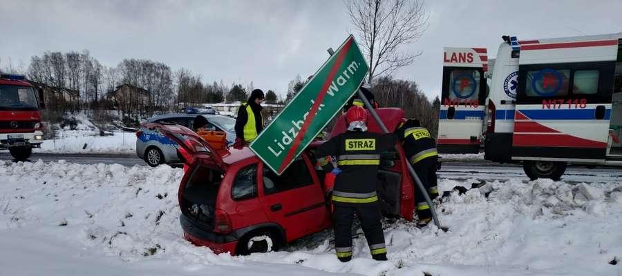 Wypadek na ul. Wrzosowej w Lidzbarku Warmińskim