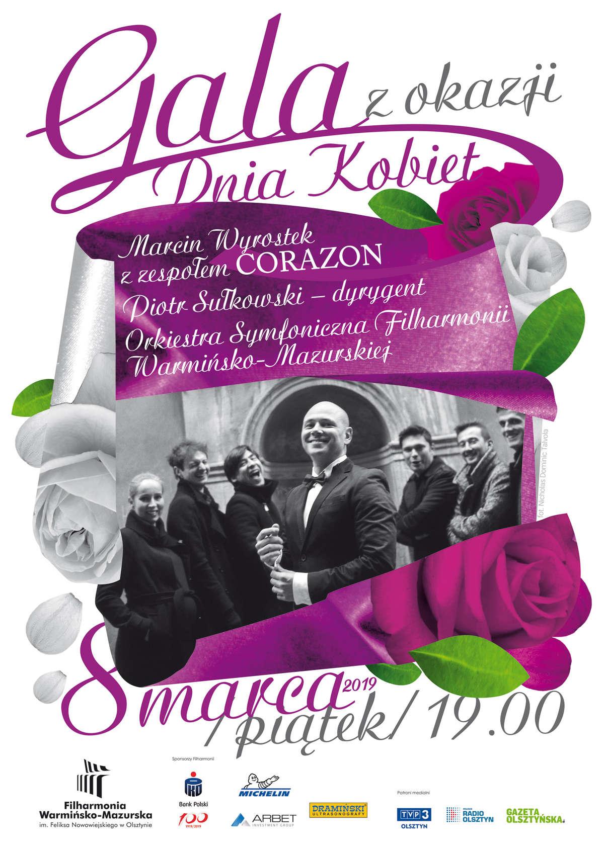 """''Gala z okazji Dnia Kobiet"""" Marcin Wyrostek wraz z zespołem """"Corazon""""  - full image"""