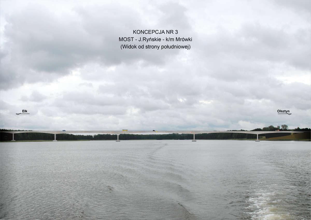 Zaakceptowana przez GDDKiA koncepcja mostu nad jez. Ryńskim (2012 r.)
