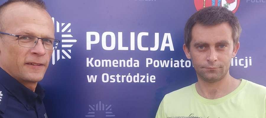 Uratowany mężczyzna osobiście podziękował policjantowi, który przyszedłmu z pomocą