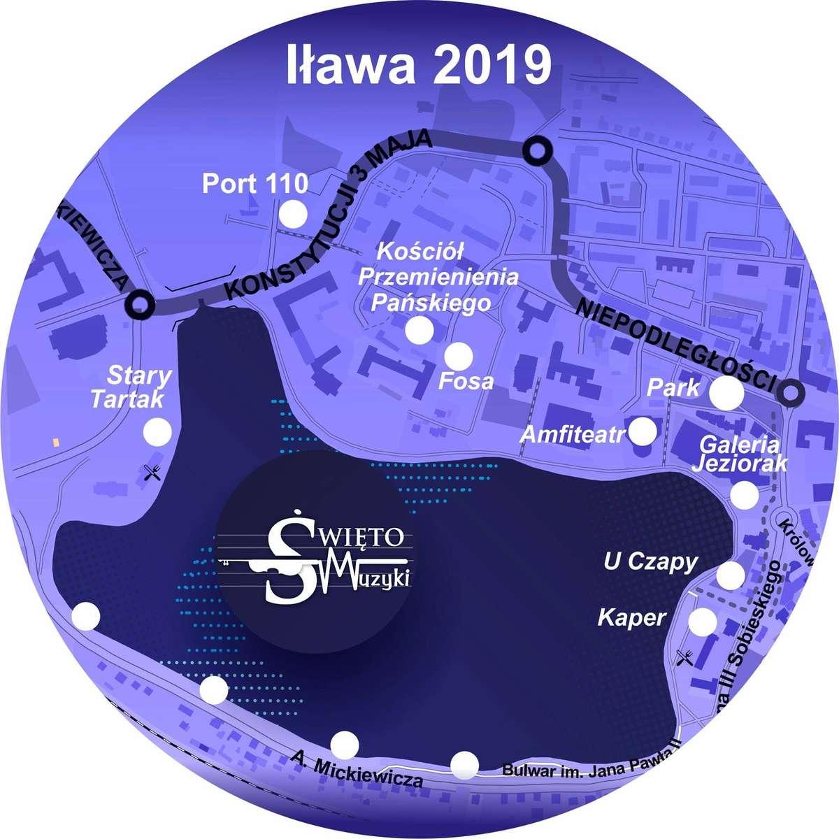 Na mapie zaprezentowano część punktów, w których będą odbywały się występy w czasie Święta Muzyki - full image
