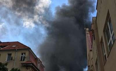 Pożar na złomowisku w Lidzbarku Warmińskim