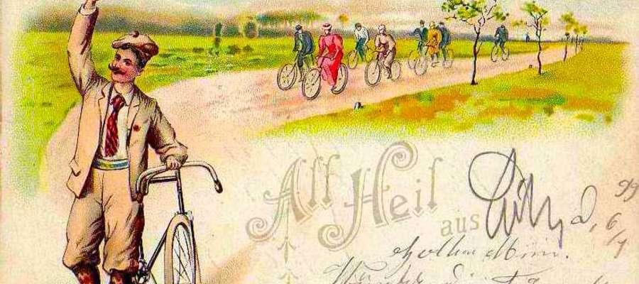 Urocza pocztówka z lamusa z rowerzystami z epoki w roli głównej