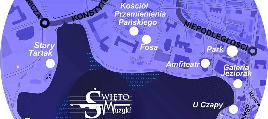 Na mapie zaprezentowano część punktów, w których będą odbywały się występy w czasie Święta Muzyki
