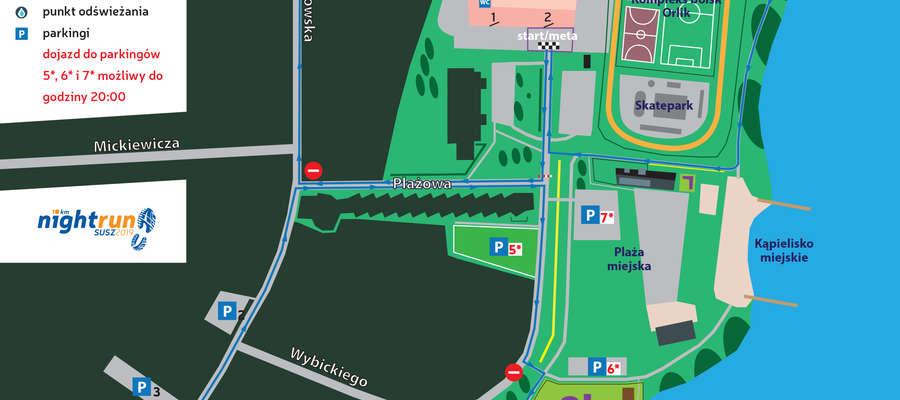 Mapka okolicy, w której odbędzie się bieg - kliknij, aby powiększyć