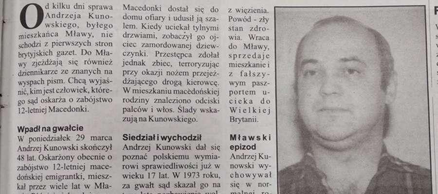 """O Andrzeju Kunowskim i jego zbrodniach pisaliśmy w """"Kurierze"""" już marcu 2004 roku"""