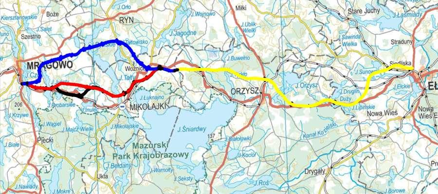 mapa droga 16 warianty od Mrągowa do Ełku
