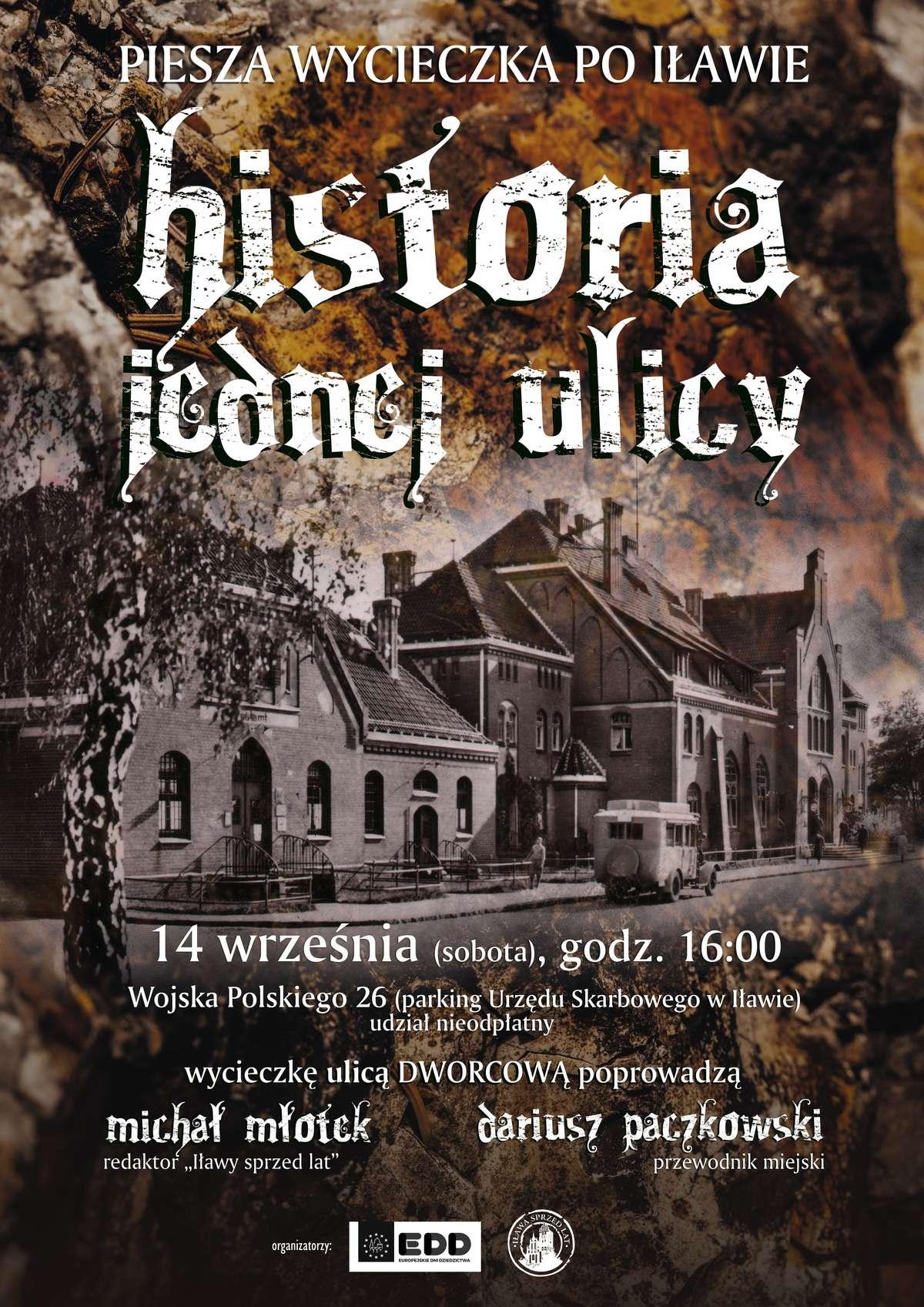 Plakat promujący wycieczkę ulicą Dworcową — kliknij, aby zobaczyć go w całości