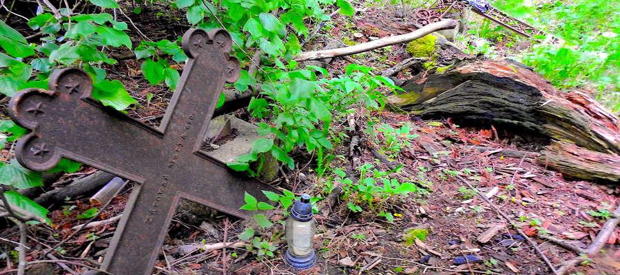 Krzyże na opisanej działce w Brzoziu Lubawskim są zaniedbane