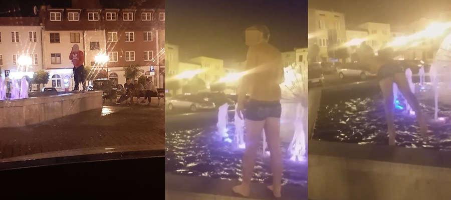 Jeden ze sfotografowanych mężczyzn oddawał do lubawskiej fontanny mocz, inny oddawał do niej skoki jak do basenu