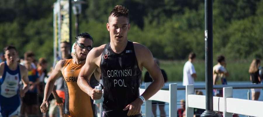 Dawid Goryński (UKS TRS Susz) na trasie mistrzostw Polski juniorów, na których zdobył złoty medal na dystansie sprint