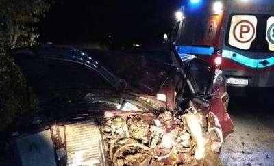 Pijany kierowca audi uderzył w drzewo. Trafił do szpitala