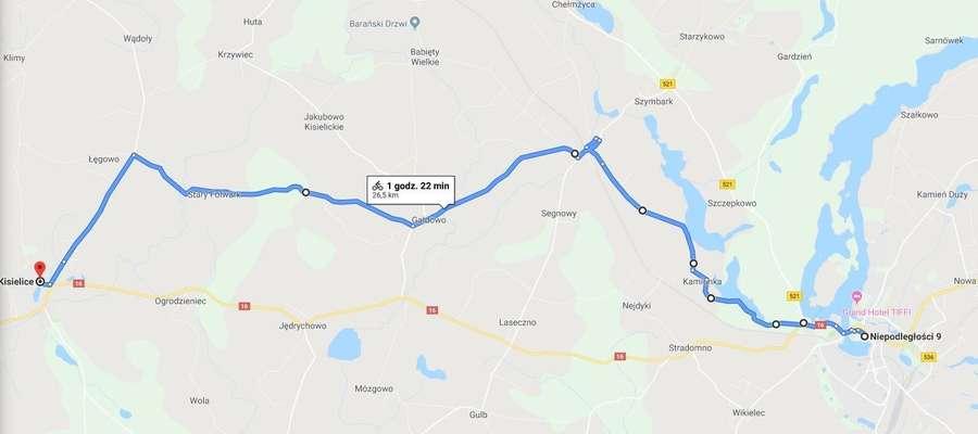 """Trasa biegu """"Dobro wraca"""" będzie prowadziła przez miejscowości: Iława, Kamionka, Ząbrowo, Gałdowo, Stary Folwark, Łęgowo i Kisielice."""