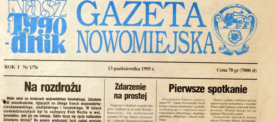 """Tak wyglądała okładka pierwszego numeru """"Gazety Nowomiejskiej"""""""