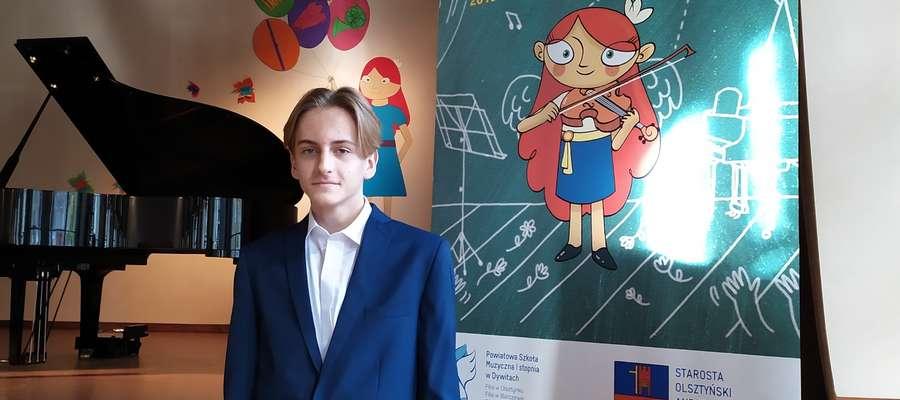 Maciej Maziński, uczeń Państwowej Szkoły Muzycznej w Iławie