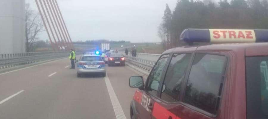 Do zdarzenia doszło na wiadukcie na DK 16 pod Ostródą