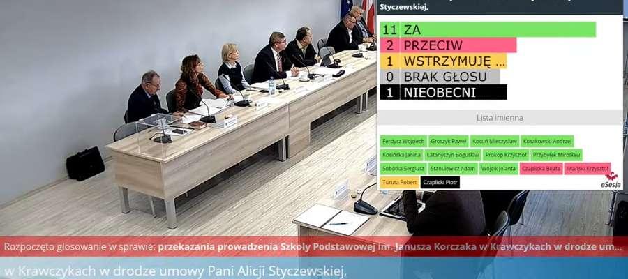 Zrzut z ekranu. Transmisja on-line sesji rady Gminy Bartoszyce z wynikami głosowania w sprawie szkoły w Krawczykach.