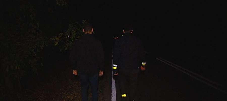Pijany, bez odblasków, praktycznie niewidoczny szedł całą szerokością drogi krajowej z Lubawy do... Ostródy