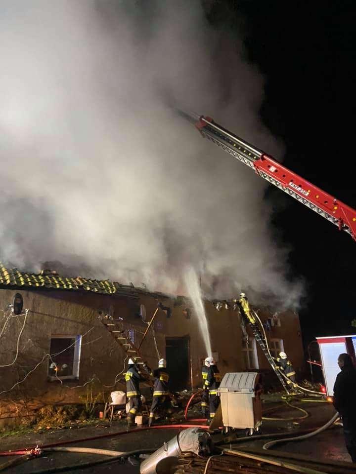 Budynek po pożarze w Koniewie
