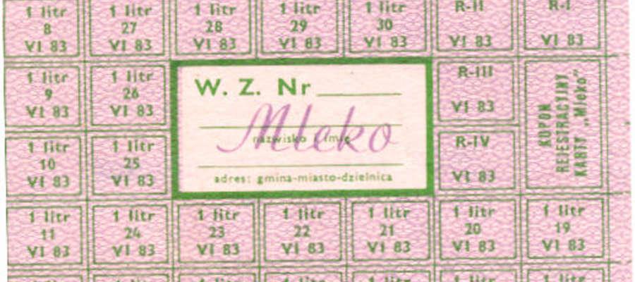 Kartki na mleko z czasów stanu wojennego