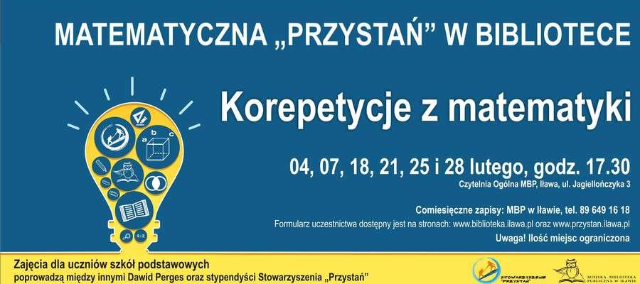 W lutym do ciekawych wydarzeń dojdzie m.in. w Miejskiej Bibliotece Publicznej w Iławie. Jednym z nich jest Matematyczna Przystań (szczegóły na plakacie)