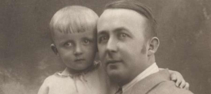 Seweryn Pieniężny junior (1890-1940) z synem Kostkiem. Z czworga dzieci Pieniężnych w czasie wojny zmarł jedyny syn Kostek (1921-1942) i córka Halina (1929-1945)