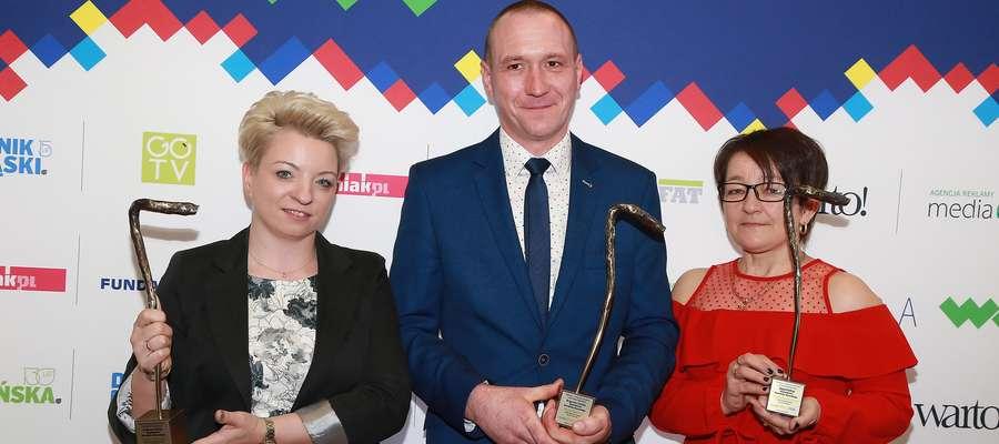 Ubiegłoroczni laureaci. Od lewej: Iwona Skwarko, Piotr Hauzer, Maria Nadolska