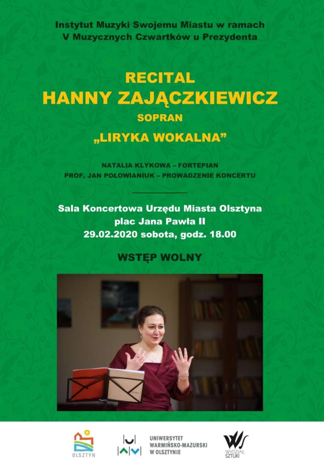 Hanna Zajączkiewicz zaprasza na koncert 29 lutego - full image