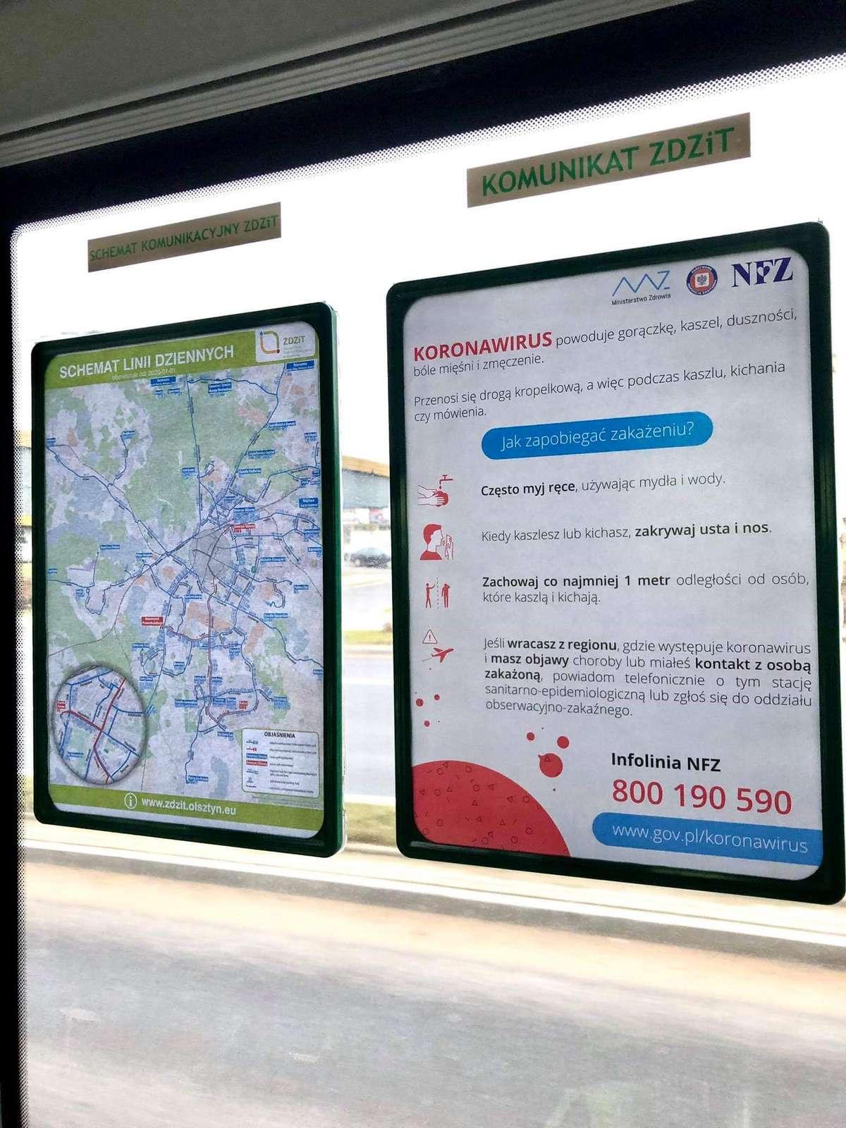 W komunikacji miejskiej w Olsztynie pojawiły się plakaty