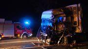 Wypadek pod Mdzewem. Zderzenie ciężarówek