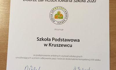 Szkoła z Kruszewca z certyfikatem za udział w projekcie