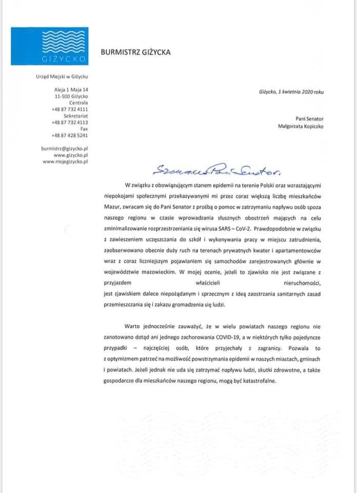 Burmistrz Giżycka o pomoc poprosił senator Małgorzatę Kopiczko, a zwróciła się do MON o pomoc wojska