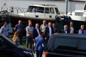 Prezydent Andrzej Duda w stoczni nad Drwęcą
