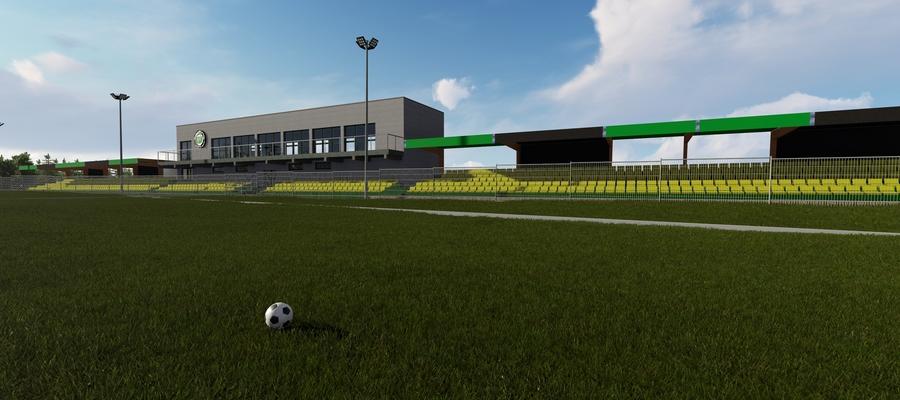 Tak ma wyglądać stadion w Wikielcu - tu akurat wizualizacja z krytymi trybunami