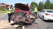 Trzy samochody zderzyły się pod Olsztynkiem. Jedna osoba została ranna [ZDJĘCIA]