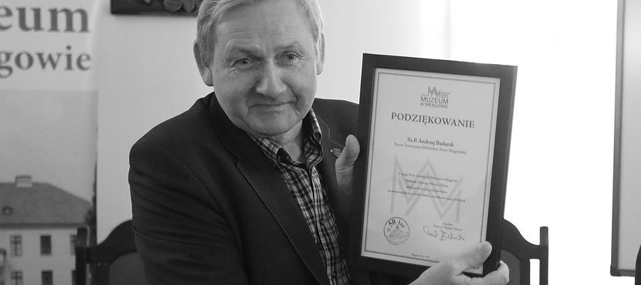 Andrzej Badurek w 2019 roku otrzymał podziękowanie za współpracę przy okazji jubileuszu 50-lecie mrągowskiego muzeum