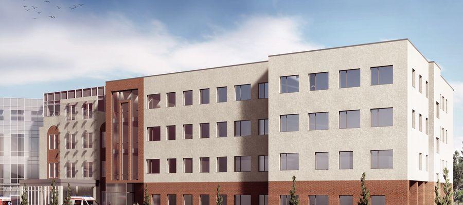 Wizualizacja  północnego skrzydła Uczelnianego Szpitala Klinicznego w Olsztynie