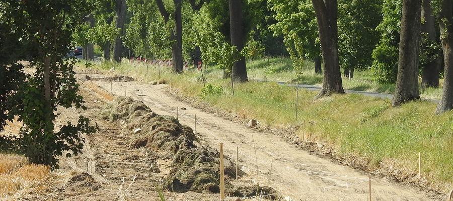 Początkowa faza robót na ścieżce w Wawrowicach