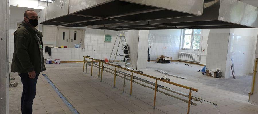 Tak obecnie wygląda kuchnia w szpitalu w Bartoszycach. Trwa tu remont, który może zakończyć się w październiku. Własna kuchnia ruszy w szpitalu prawdopodobnie od nowego roku.