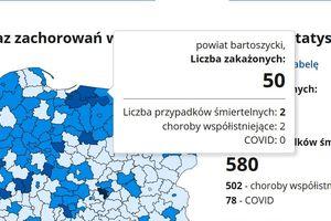Pięćdziesiąt nowych zakażeń w powiecie bartoszyckim. Dwa zgony