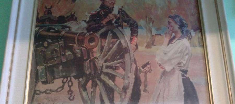 """Reprodukcja obrazu Wojciecha Kossaka """"Kanonier i dziewczyna"""" z 1909 roku"""