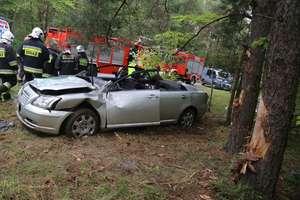Wypadek pod Jonkowem. Toyota zatrzymała się na dwóch drzewach