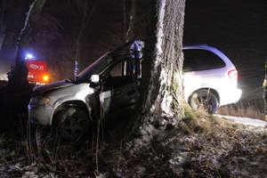 Kierowca trafił do szpitala po poślizgu na oblodzonej jezdni i uderzeniu w drzewo