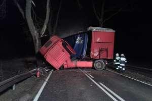 Tir uderzył w drzewo na DK 59. Kierowca zabrany do szpitala