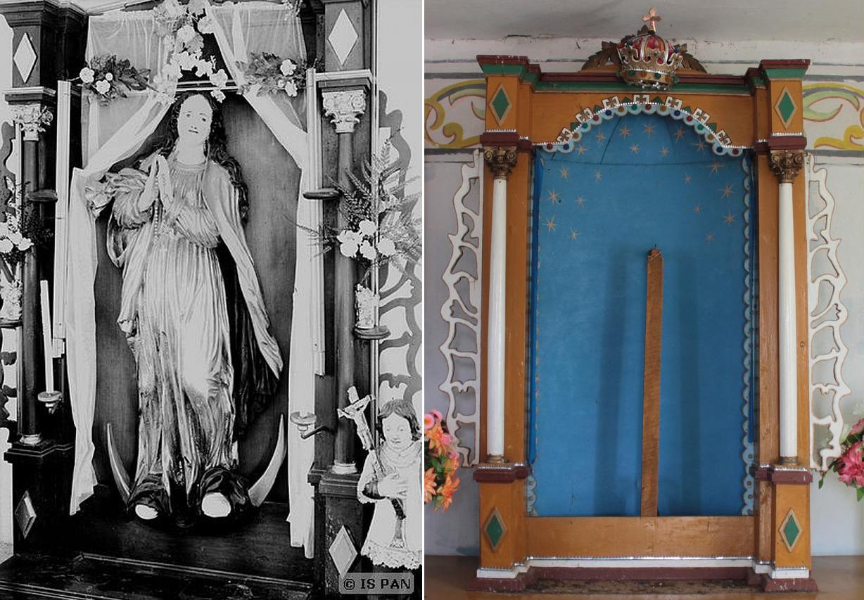 Wygląd ołtarzyka w Lądku przed II wojną światową i współcześnie, po usunięciu obrazu, który go zasłaniał.