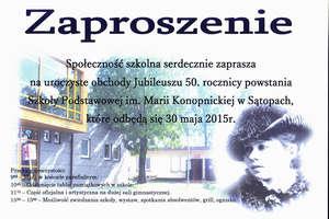 50 lat szkoły w Sątopach. Zaproszenie