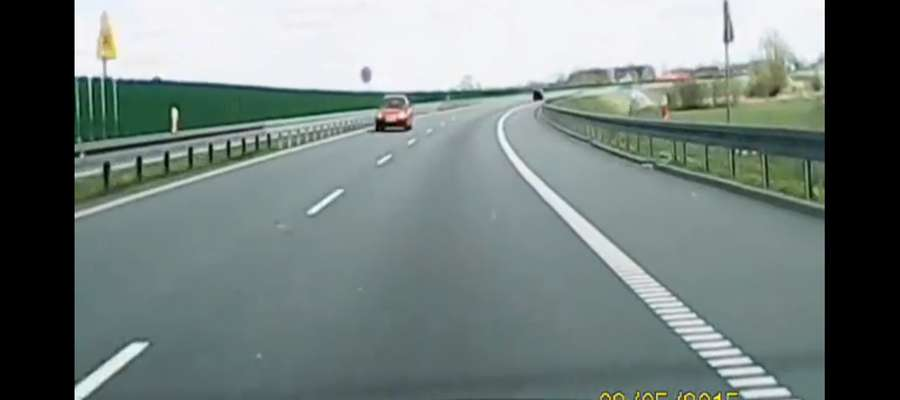 Kierowca jechał pod prąd drogą ekspresową w okolicach Elbląga