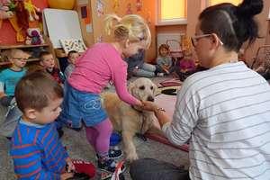 Przedszkolaki przytulały psa