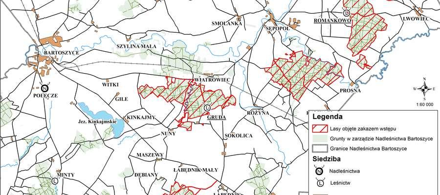 Obszary lasu objęte zakazem wstępu.